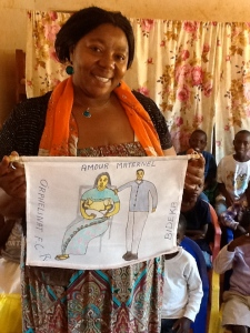 Gorethy shows off a gift the orphans made for her while she was away in the United States.